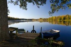 Jesień jeziora rama obrazy royalty free