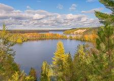 Jesień kolory, Highbanks ślad, AuSable Sceniczny Byway, MI zdjęcia stock
