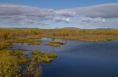 Jesień kolory otaczają jezioro i szarość chmurnieje above Zdjęcie Royalty Free