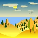 Jesień krajobraz żółci wzgórza z drzewami W tła morzu royalty ilustracja