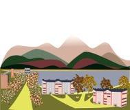 Jesień krajobraz góry miasto ilustracji