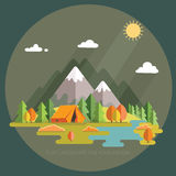 Jesień krajobraz W górach ranek krajobraz samotność Zdjęcie Stock