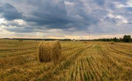 Jesień krajobraz w polu z sianem w wieczór, Rosja, Ural zdjęcie royalty free