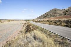 Jesień krajobraz z asfaltową drogą Obrazy Stock