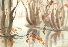 Jesień krajobraz z drzewami pod stawem Mglista akwarela ilustracja wektor