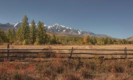 Jesień kraju krajobraz z ogrodzeniem, śnieżnymi górami i lasem, Fotografia Royalty Free
