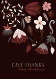 Jesień kwiaty Dają dzięki Szczęśliwej dziękczynienie karcie royalty ilustracja