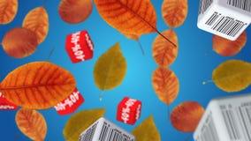 jesień liść czerwony sprzedaży słowo ilustracji