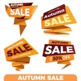 jesień liść czerwony sprzedaży słowo Sprzedaży etykietki metki sztandaru odznaki szablonu majcher Obrazy Royalty Free