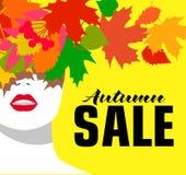 jesień liść czerwony sprzedaży słowo sztandar fashion girl Barwioni liście Śmiały, minimalny styl, Wystrzał sztuka OpArt, pozytyw Fotografia Stock