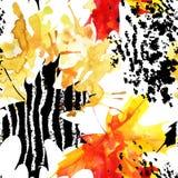 Jesień liść klonowy na akwareli i grunge tle Zdjęcie Royalty Free