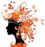 jesień liść sylwetki kobieta Zdjęcie Stock