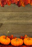 Jesień liście i bani rama obrazy royalty free