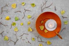 Jesień liście i wygodny blask świecy fotografia royalty free