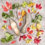 Jesień liście i złoci buty Mody mieszkanie Lay Fotografia Royalty Free
