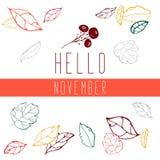 Jesień liście minimalistic, biały tło Ręka rysujący wektorowy spadek liście ilustracyjni Cześć Listopad Jesień royalty ilustracja
