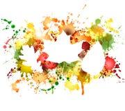 Jesień liście na kolorowym kleksa tle Obrazy Stock