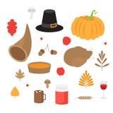 Jesień liście, pieczarki i acorns, spadek natura Szczęśliwy dziękczynienie dnia set Dyniowy kulebiak, Turcja i róg, Royalty Ilustracja