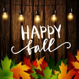 Jesień liście rama i banie na drewnianej teksturze ilustracja wektor