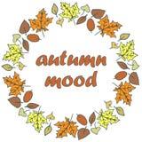 Jesień liście - round rama ilustracja wektor