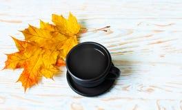 Jesień liście wokoło kawowych garnków Zdjęcia Royalty Free