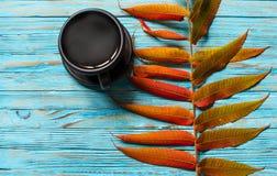 Jesień liście wokoło kawowych garnków Obraz Stock