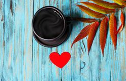Jesień liście wokoło kawowych garnków Zdjęcie Stock