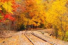 jesień linia kolejowa Zdjęcia Royalty Free