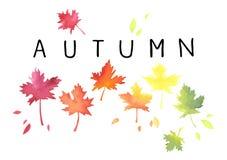 Jesień Literowanie z pstrobarwnymi liśćmi Akwareli imitacja royalty ilustracja