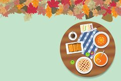 Jesień menu na zaokrąglonym stole Obrazy Royalty Free