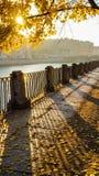 jesień miastowy krajobrazowy Wczesny poranek w St Petersburg Jesień 2016 Obrazy Royalty Free