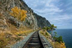 Jesień na Baikal kolei obrazy royalty free