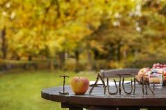 Jesień ogródu stół obrazy stock