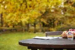 Jesień ogródu stołu tło Obraz Royalty Free