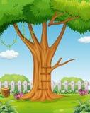 jesień ogrodowy scenerii drzewo ilustracja wektor