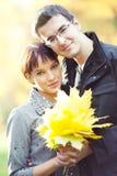 jesień pary mienia liść Fotografia Royalty Free
