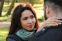 jesień pary szczęśliwy park zdjęcie royalty free