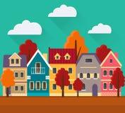 Jesień pejzaż miejski w mieszkanie stylu Zdjęcie Stock
