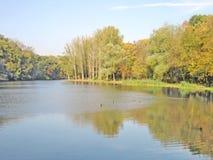 jesień piękna jeziora krajobrazu odbicia woda obraz royalty free