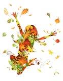 jesień pięknego dzień spadek lasowa chodząca kobieta Zdjęcia Royalty Free