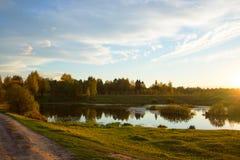 Jesień piękny panoramiczny wiejski krajobraz Zdjęcia Stock