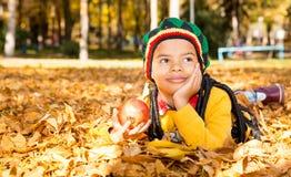 Jesień portret amerykanina afrykańskiego pochodzenia piękny dziecko Szczęśliwa mała czarna chłopiec z liśćmi w parku w spadku fotografia royalty free