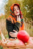 Jesień portret, młoda piękna dziewczyna w naturze z łozinowym koszem jabłka zdjęcie stock