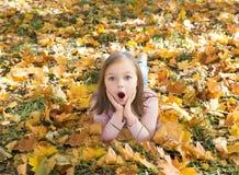 Jesień portret zdziwiona piękna mała dziewczynka obrazy royalty free