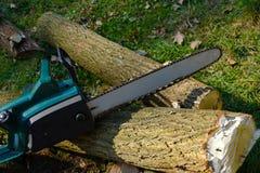 Jesień praca Elektryczna piła łańcuchowa na tle rżnięta akacja t obraz stock