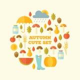Jesień projekta nowożytny stylowy płaski set Zdjęcia Stock