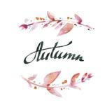 Jesień Ręcznie pisany atrament kaligrafia Ręki literowanie z waterco Zdjęcia Stock