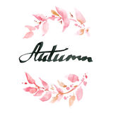 Jesień Ręcznie pisany atrament kaligrafia Ręki literowanie z waterco Fotografia Royalty Free