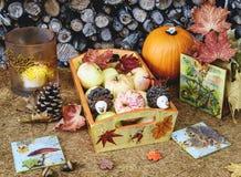 Jesień ręcznie robiony wystrój stół w wieśniaka stylu Obrazy Royalty Free