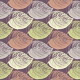 Jesień ręka rysujący liść Tapetowy bezszwowy deseniowy tło royalty ilustracja